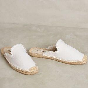 Soludos Slide On White Espadrilles Loafers Sz 7